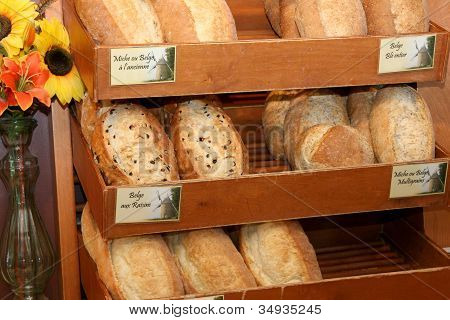 Variety of breads in bakery