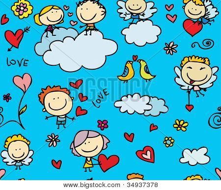 Doodle seamless background texture of love valentine day
