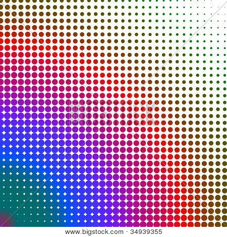 Multicolored dots changing form against a white background