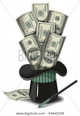 Money fly out of a magician hat. Business concept. Vector illustration.
