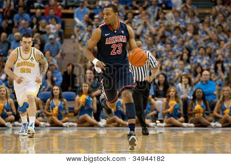 LOS ANGELES - FEB 26: Arizona Wildcats forward Derrick Williams #23 during the NCAA basketball game between the Arizona Wildcats and the UCLA Bruins on Feb 26, 2011 at Pauley Pavilion.