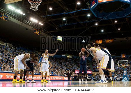 LOS ANGELES - FEB 26: Arizona Wildcats guard Kyle Fogg #21 shoots freethrows during the NCAA basketball game between the Arizona Wildcats and the UCLA Bruins on Feb 26, 2011 at Pauley Pavilion.