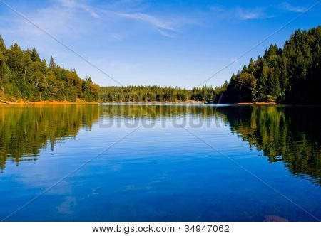 Reflection in clear blue lake in Northern California