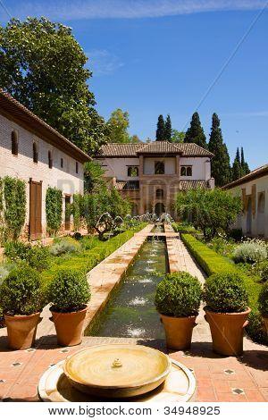 Generalife palace cortyard, Granada, Spain