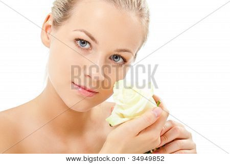 blonde holding rose flower