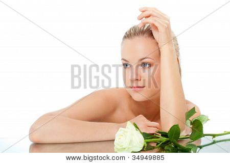 woman portrait with rose