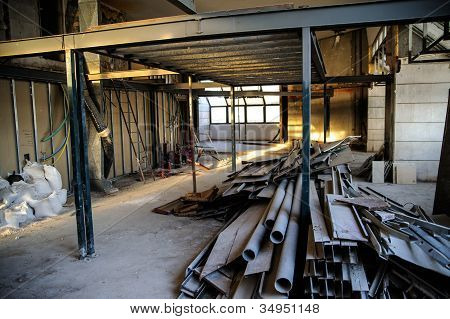 Interior of construction site