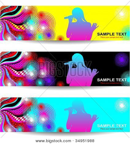Advertising banners with an abstract background on the theme of music and concert