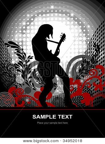 Guitarist on an abstract background, vector poster on the theme music