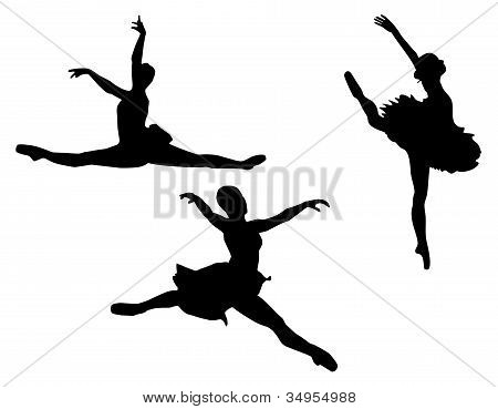 Set Of Three Ballet Dancer Silhouettes