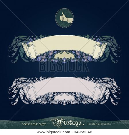 Antique, old, vintage, flourish, ornate, vector banner for decoration and design