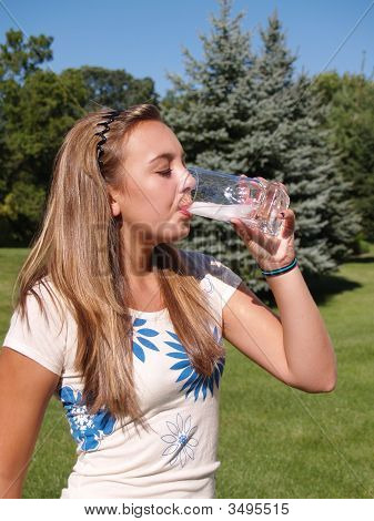 Teen Girl Drinking Water