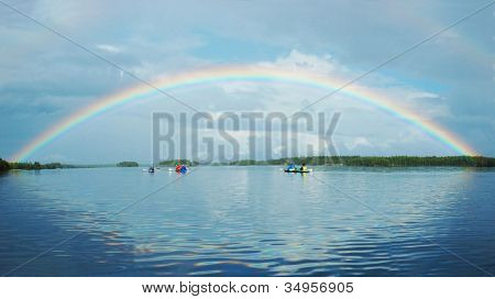 Kayaking In Polar Karelia With Rainbow ,engozero Lake - One Of The Biggest Lakes In This Region