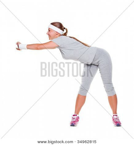 full length portrait of sporty young woman over white background