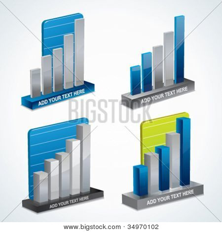 Modern 3d vector graph or diagram set