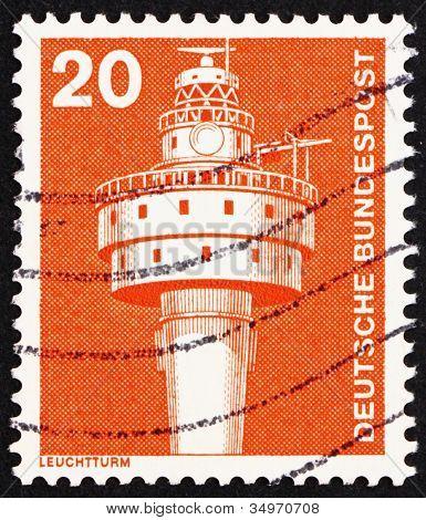 Postage stamp Germany 1976 Old Weser Lighthouse