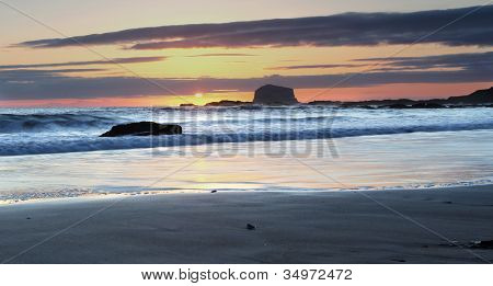 Sunrise on Bass Rock, North Berwick Beach, Scotland