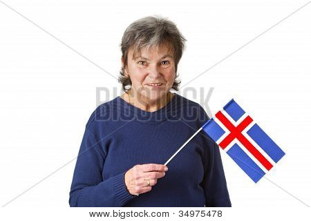 Female Senior With English Flag