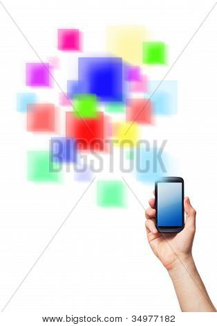 Cell Phone And A Futuristic Digital Depiction Of Social Media Over White Background