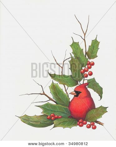 Christmas Holly and Cardinal Artwork
