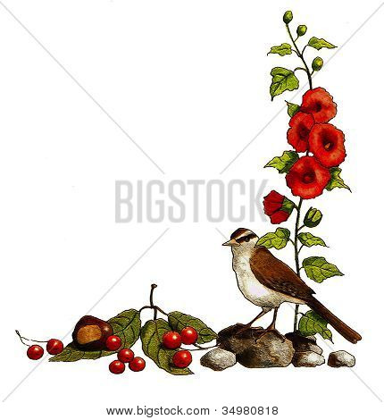 Nature Half Border: Bird, Flowers, Berries