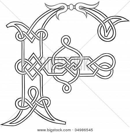 Knotwork Letter F