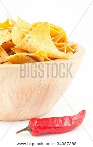 Pimento next to a bowl of crisps against white background