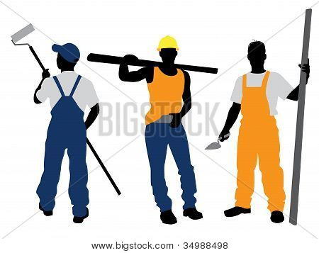 Three Workers Silhouettes