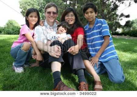 Large Multiracial Family Sitting On Law