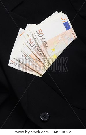 Pile of money fifty euros banknote
