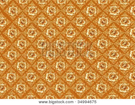 Golden Flower Pattern with Brown Background Textures