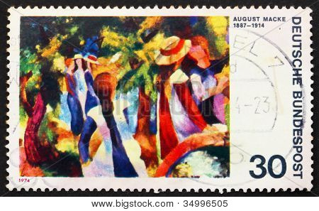 Postage stamp Germany 1974 Girls under Trees by August Macke