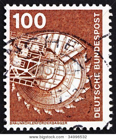 Postage stamp Germany 1975 Bituminous Coal Excavator