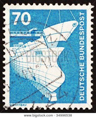 Postage stamp Germany 1975 Shipbuilding