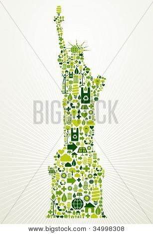 Nueva York ir ilustración concepto verde