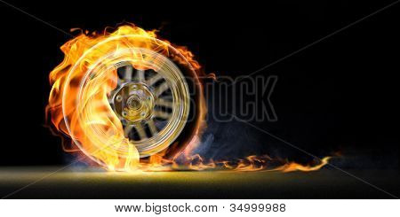 car wheel on fire