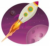 stock photo of ovni  - Illustration of a rocket ship flying through outer space among planets and stars - JPG