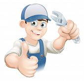 picture of overalls  - Graphic of a smiling plumber mechanic or handyman in overalls holding a wrench and giving thumbs up - JPG