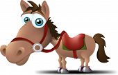 stock photo of saddle-horse  - a horse with a big head and a saddle on his back - JPG