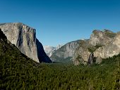 stock photo of granite dome  - Yosemite Valley from Tunnel View on a sunny day - JPG