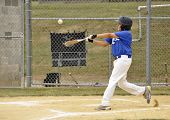 picture of little-league  - young little league baseball batter hitting at homeplate - JPG