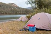 Wilderness camping on shore of Yukon River, Canada