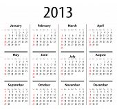 stock photo of thursday  - Solid calendar for 2013 year - JPG