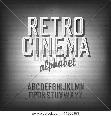 Постер, плакат: Старое кино в стиле алфавит Текстурированный фон вектор EPS10, холст на подрамнике