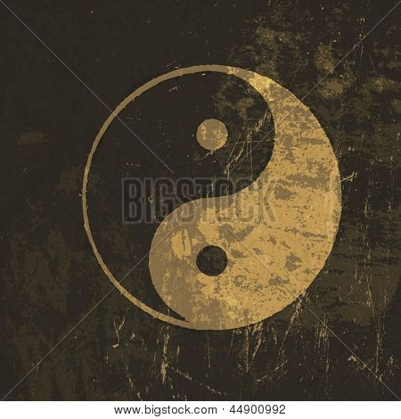 Yin yang grunge icon. With stained texture, vector