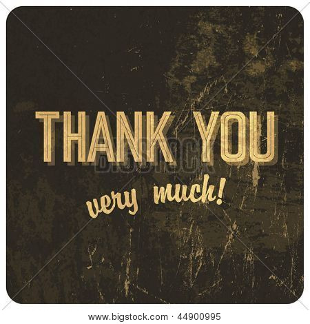 Thank you words on grunge background. Vector