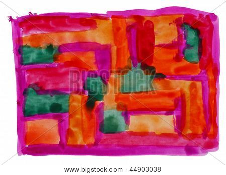 art vanguard, red orange watercolor isolated for your design