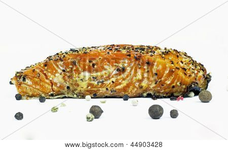 pice of smoked salmon on the white background