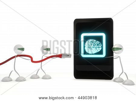 brain symbol on a smart phone with three robots
