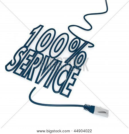 service symbol with cat5 network cable